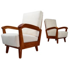 French Midcentury Armchairs in Walnut and Reupholstered in Off-White Wool Fabric