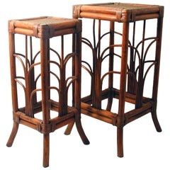 French Midcentury Art Nouveau Style Bamboo Nesting Tables Side End Tables, 1950s