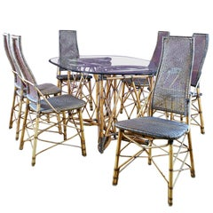French Midcentury Bamboo & Rattan Dining Set, Six Highback Chairs, 1950, France