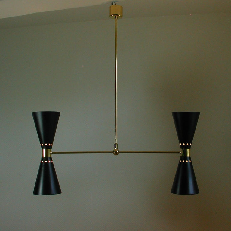 French Midcentury Black Double Cone Diabolo Pendant Chandelier, 1950s For Sale 5