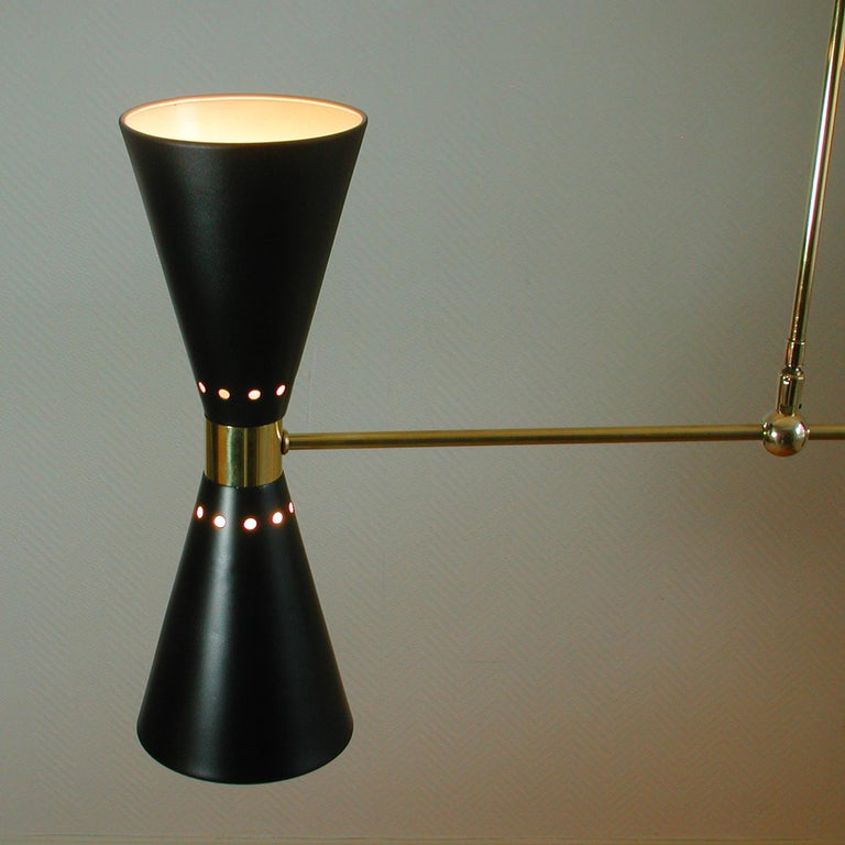 French Midcentury Black Double Cone Diabolo Pendant Chandelier, 1950s For Sale 7