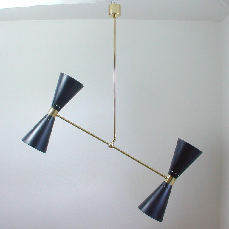 Mid-Century Modern French Midcentury Black Double Cone Diabolo Pendant Chandelier, 1950s For Sale