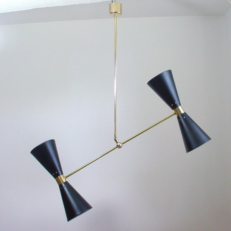 Lacquered French Midcentury Black Double Cone Diabolo Pendant Chandelier, 1950s For Sale