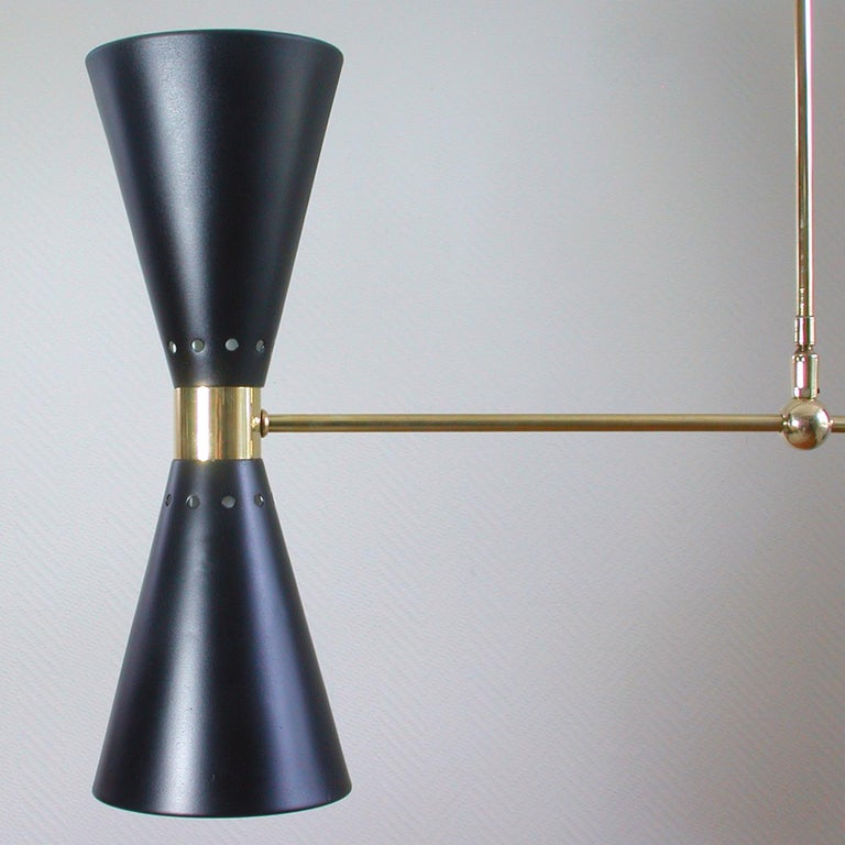 French Midcentury Black Double Cone Diabolo Pendant Chandelier, 1950s For Sale 2