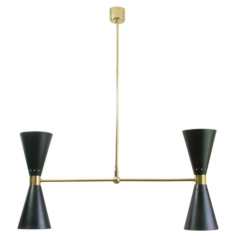French Midcentury Black Double Cone Diabolo Pendant Chandelier, 1950s For Sale