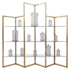 French Midcentury Brass and Glass Angular Formed Shelving Unit