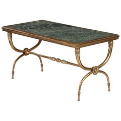 French Midcentury Brass and Marble Coffee Table Attributed to Raymond Subes