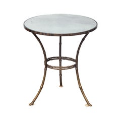 French Midcentury Brass Faux-Bamboo Style Side Table with Antiqued Mirror Top