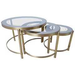 French Midcentury Brass Mirrored Circular Nest of Tables