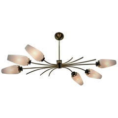 French Midcentury Bronze and Glass Chandelier