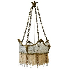 French Midcentury Bronze and Glass Flower Crown Chandelier with Gold Accents