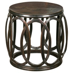 French Midcentury Bronze Drum Drinks Table with Intertwining Oval Motifs