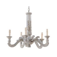 French Midcentury Carved and Painted Light Blue-Grey Wash Five-Light Chandelier