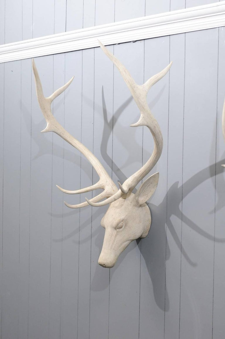 French Midcentury Carved and Painted Wooden Deer Head with Antlers In Good Condition In Atlanta, GA