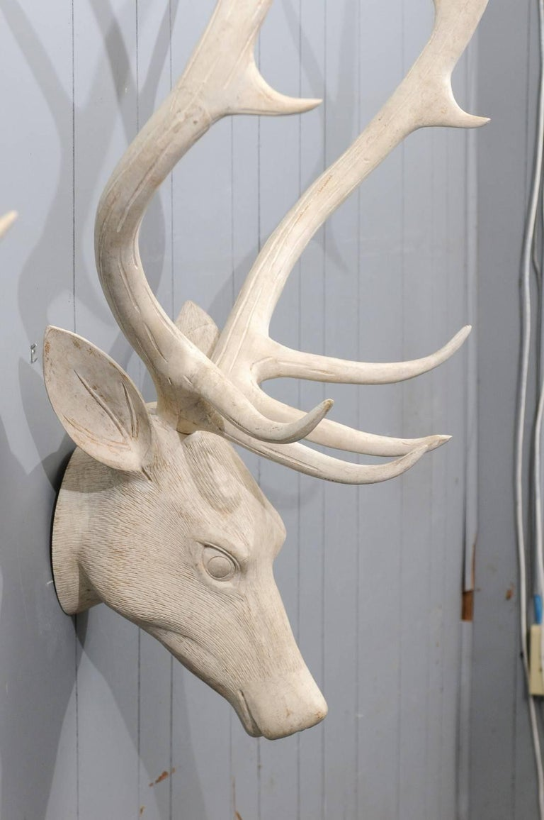 French Midcentury Carved and Painted Wooden Deer Head with Antlers 1