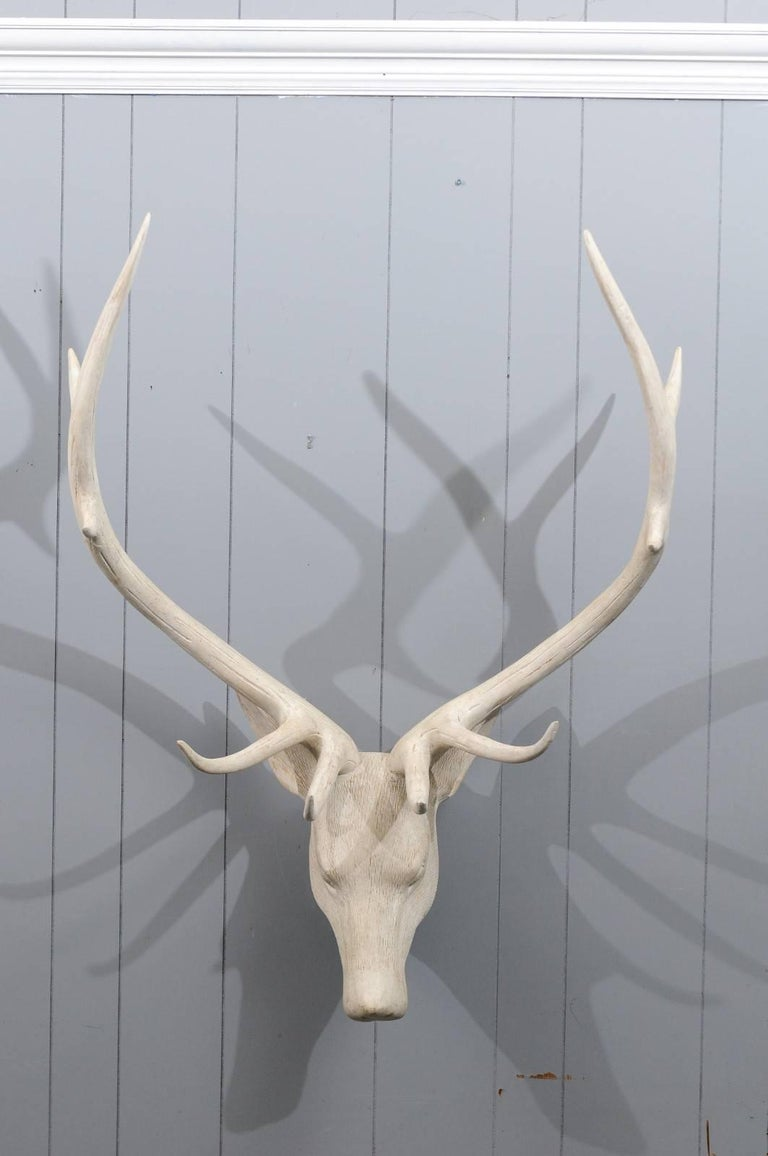 French Midcentury Carved and Painted Wooden Deer Head with Antlers 3