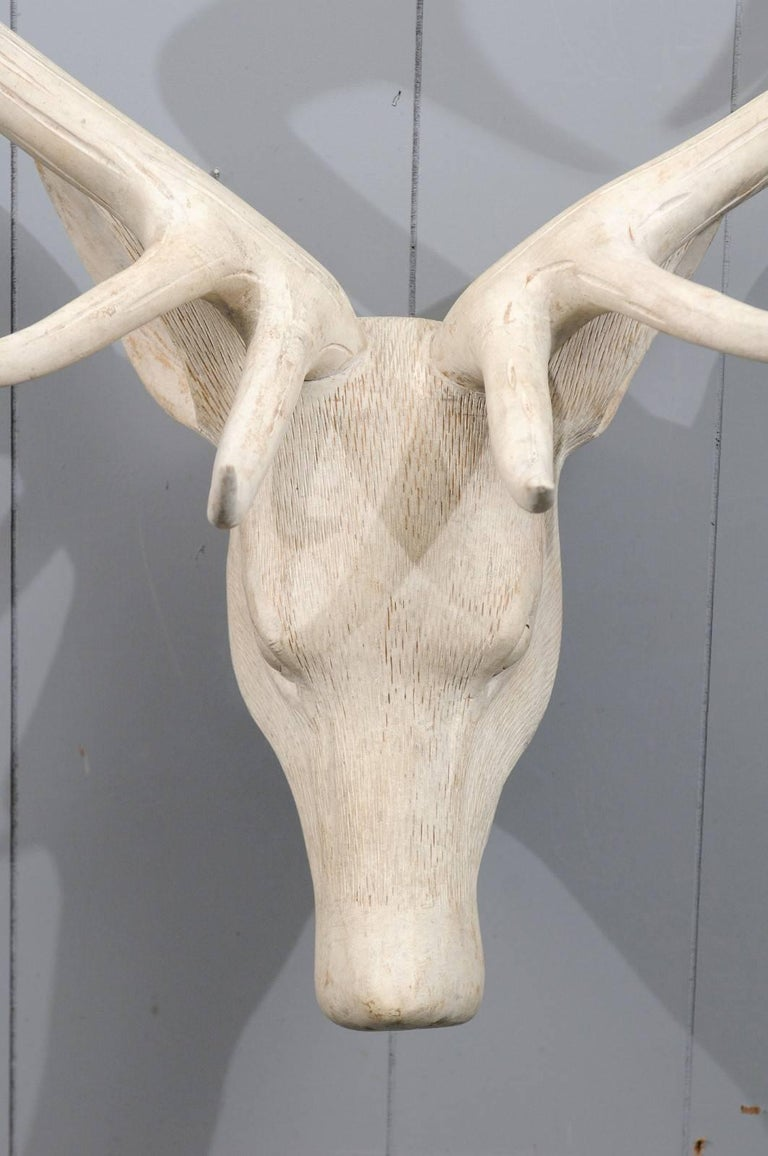 French Midcentury Carved and Painted Wooden Deer Head with Antlers 4
