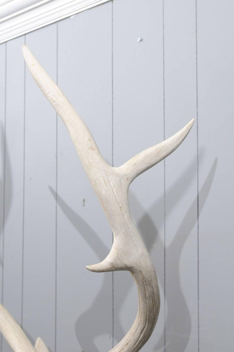 French Midcentury Carved and Painted Wooden Deer Head with Antlers 5
