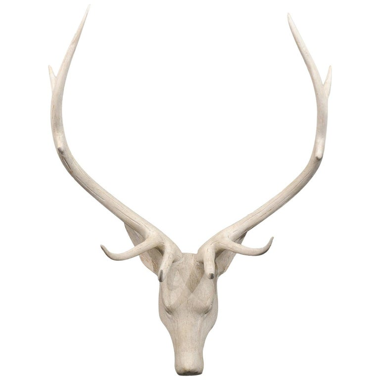 French Midcentury Carved and Painted Wooden Deer Head with Antlers