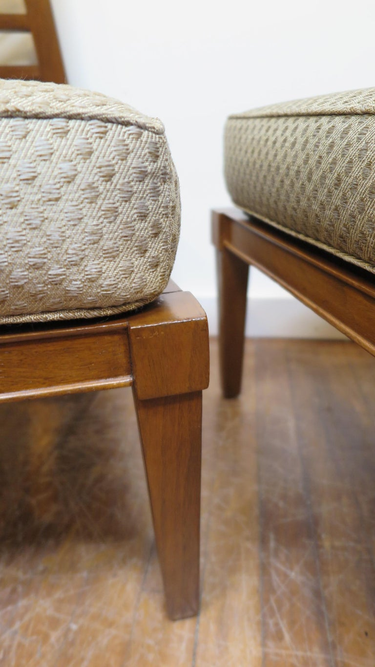 Walnut French Midcentury Chairs in the Style of Andre Arbus For Sale