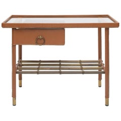French Midcentury Cognac Leather, Glass Side Table with Drawer by Jacques Adnet
