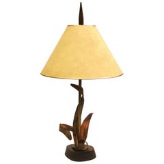 French Midcentury Copper, Bronze and Brass Floral Table Lamp by Maison Charles