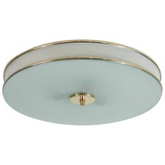 French Midcentury Cream White and Brass Matégot Style Flushmount, 1950s