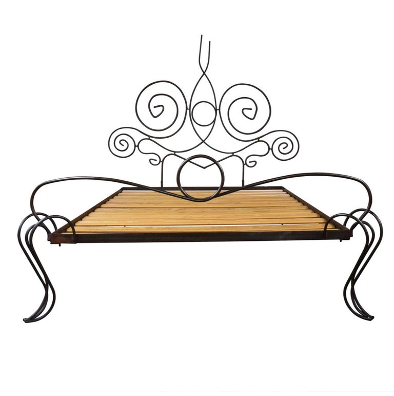Gorgeous custom wrought iron bed frame with wood slats. Whimsical, freshly modern take on the grand French tradition.