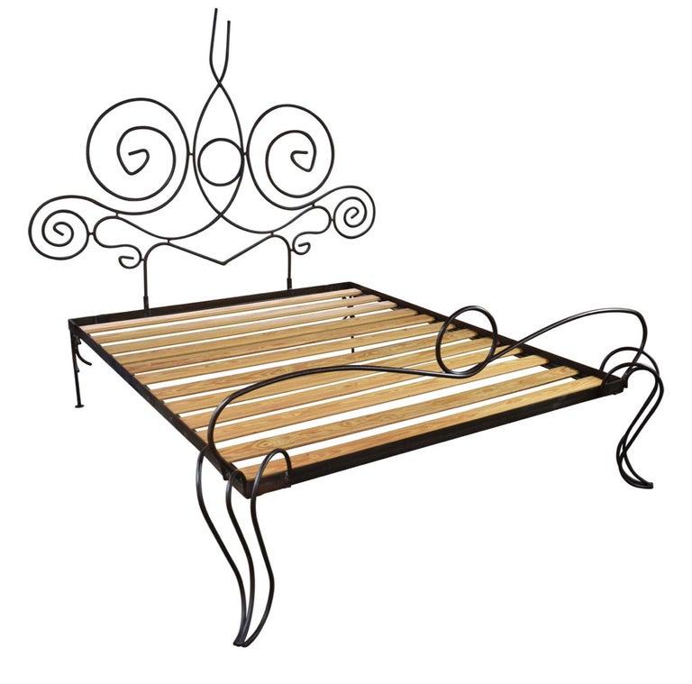 Mid-Century Modern French Midcentury Custom Wrought Iron Bed Frame, Full Artisanal Bespoke Vintage