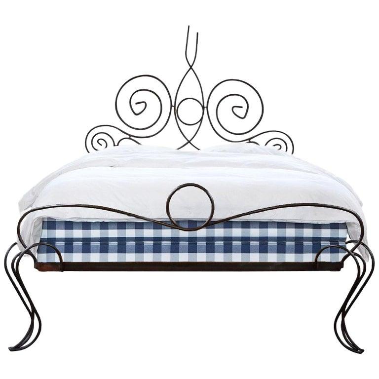 French Midcentury Custom Wrought Iron Bed Frame, Full Artisanal Bespoke Vintage