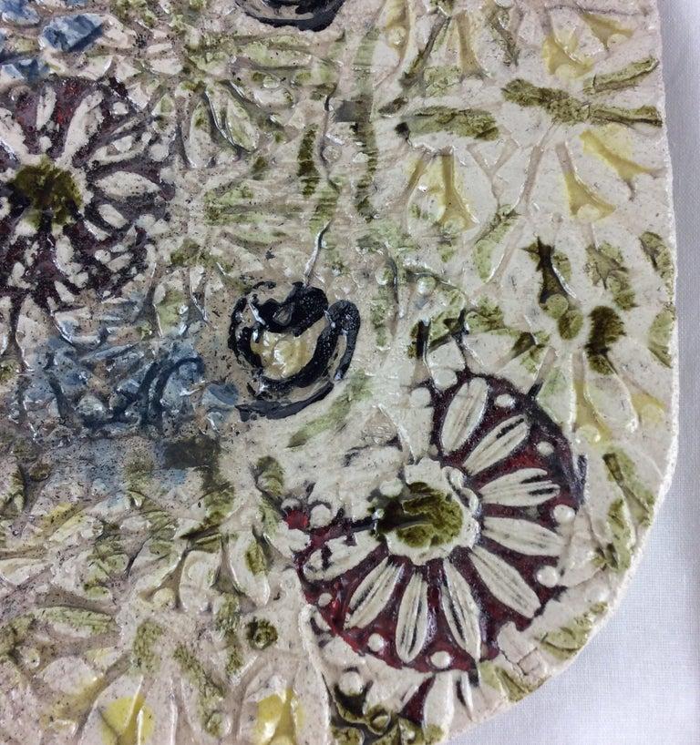 Glazed French Midcentury Decorative Ceramic Plate For Sale