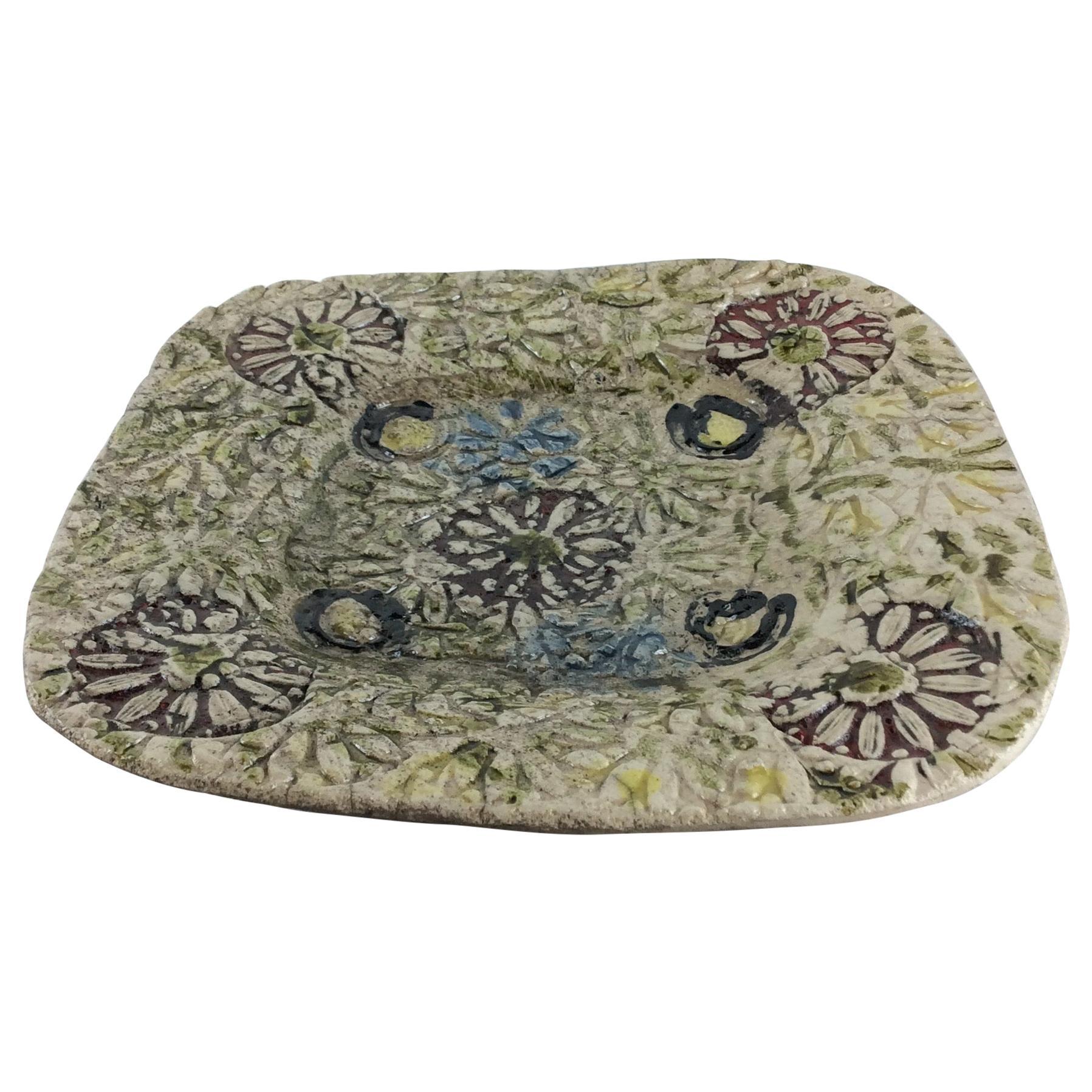 French Midcentury Decorative Ceramic Plate