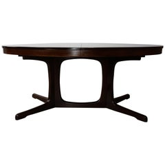 French Midcentury Design Solid Wood Oval Dining Table by Baumann