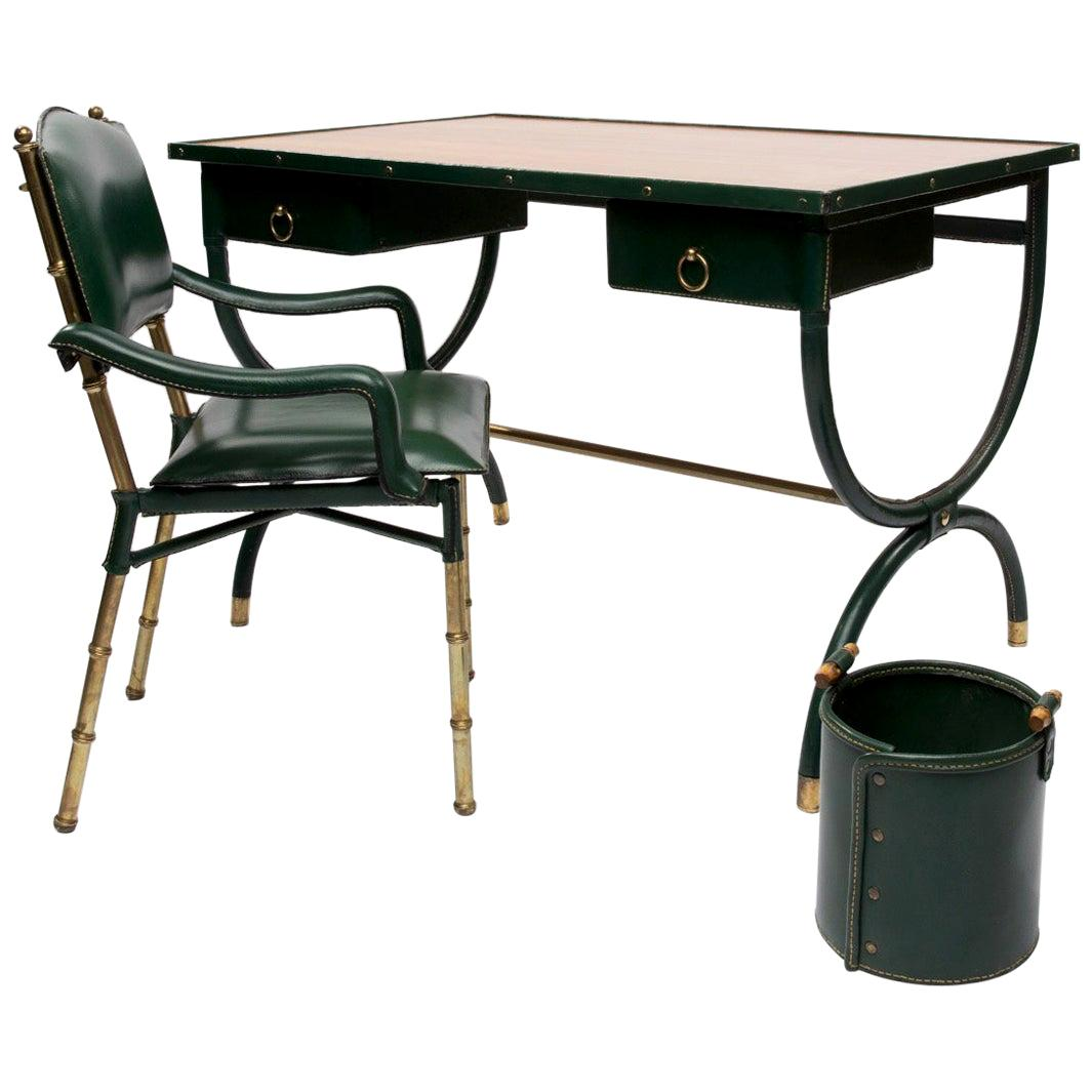 French Midcentury Desk with Armchair and Waste Paper Basket by Jacques Adnet