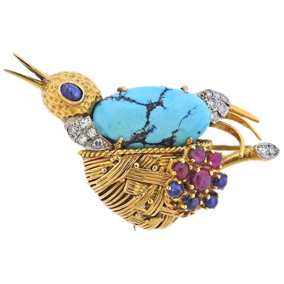 French Midcentury Diamond Ruby Sapphire Turquoise Gold Bird Brooch