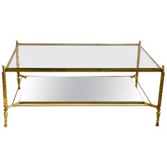 French Midcentury Double Level Brass and Glass Coffee Table, Gilbert Poillerat