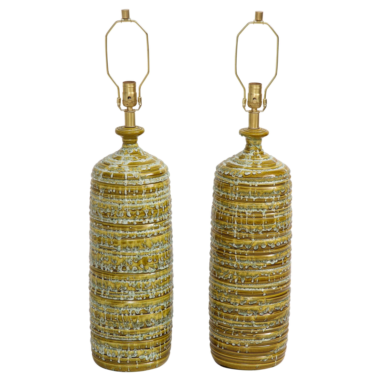 French Midcentury Drip Glaze Ceramic Lamps