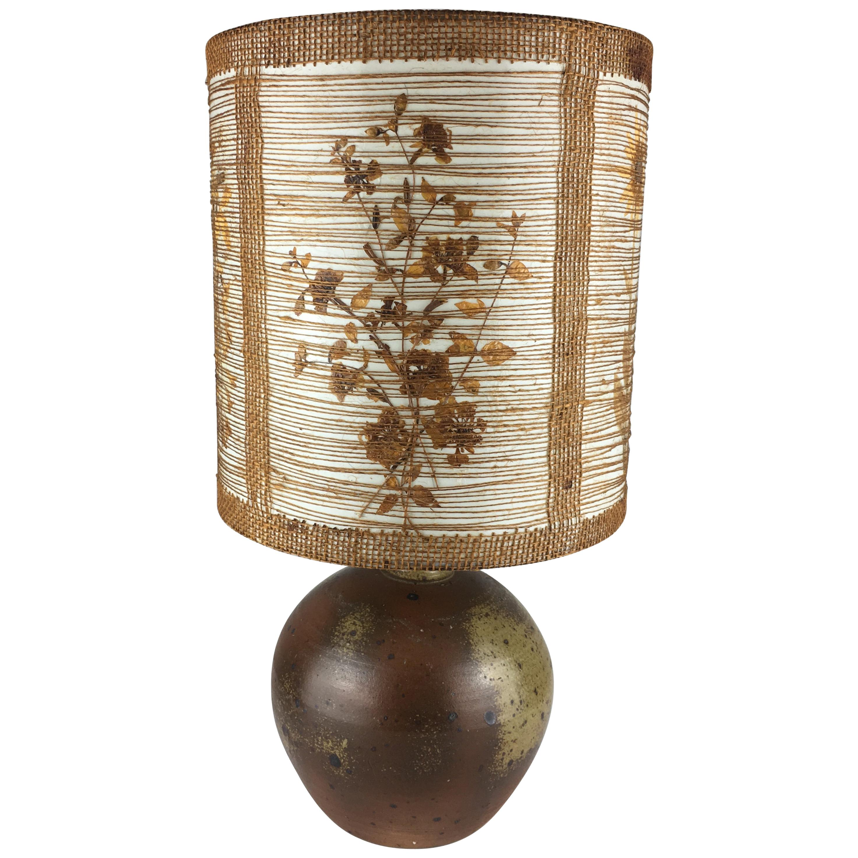 French Midcentury Earthenware Table Lamp, circa 1950s