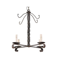 French Midcentury Elongated Twisted Iron Four-Light Petite Chandelier