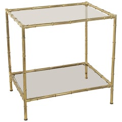 French Midcentury Faux Bamboo Brass Side Table with Smoked Glass Shelves