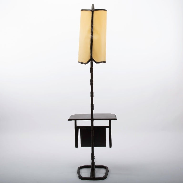 Mid-Century Modern French Midcentury Floor Table Lamp, Jacques Adnet, Saddle Stitched Leather For Sale