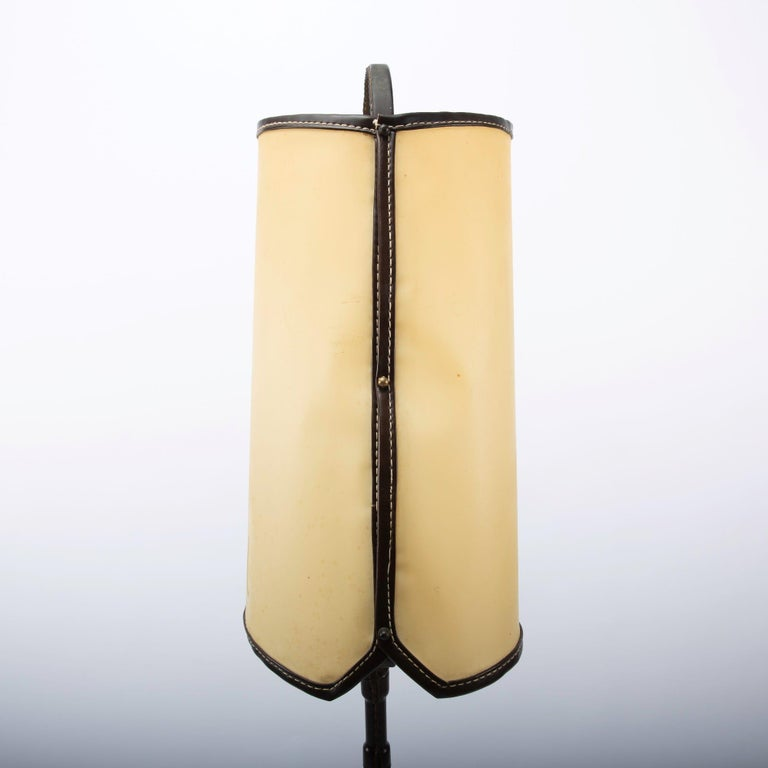 French Midcentury Floor Table Lamp, Jacques Adnet, Saddle Stitched Leather For Sale 3
