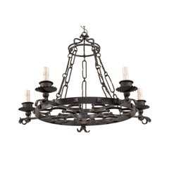 French Midcentury Forged Iron Chandelier with Quatrefoil Clover Motifs