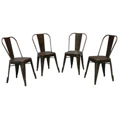 French Midcentury Galvanized Metal Tolix Chairs by Xavier Pauchard, 1970s