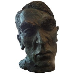 French Midcentury Giacometti Inspired Terracotta Bust Sculpture