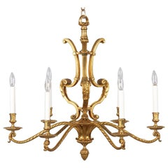 French Midcentury Gilded Metal 6-Light Chandelier, 1950s
