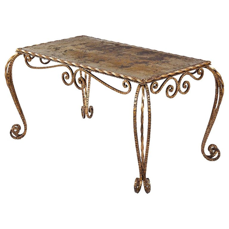 French Midcentury Gilded Metal and Mirrored Top Coffee Table, 1940s For Sale