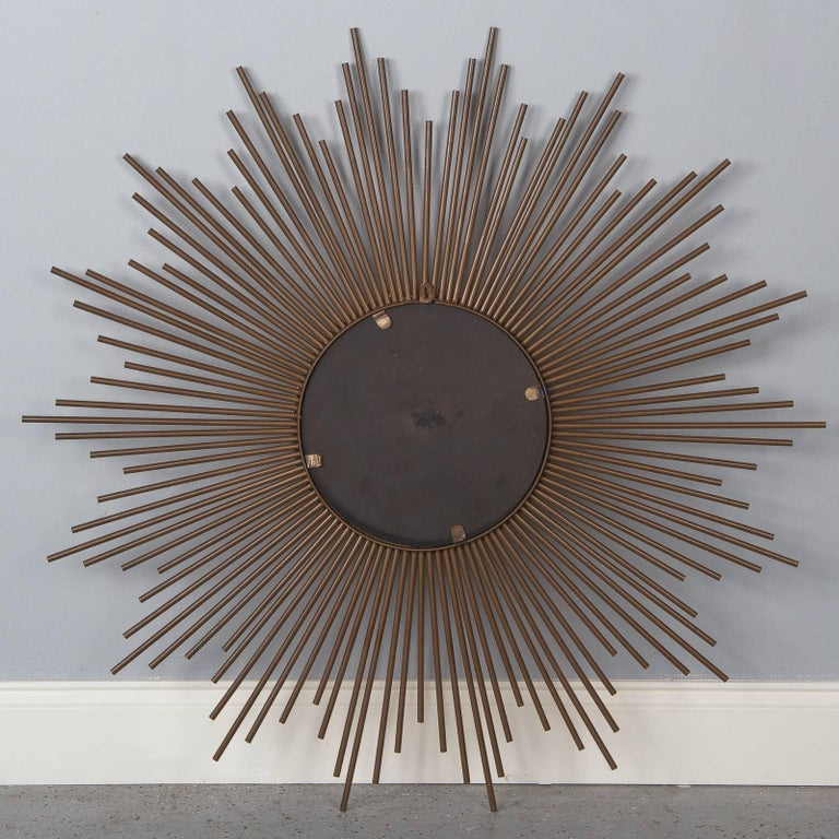 French Midcentury Gilded Metal Sunburst Mirror For Sale 5