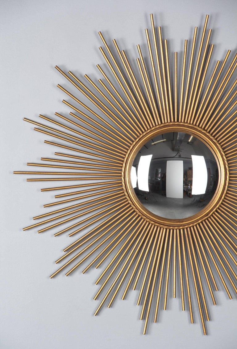 French Midcentury Gilded Metal Sunburst Mirror For Sale 6