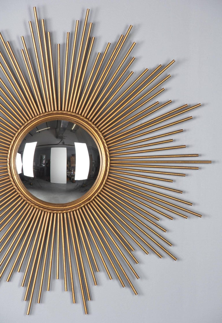 French Midcentury Gilded Metal Sunburst Mirror For Sale 7